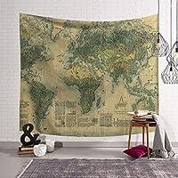 JSSFQK 世界地図タペストリー壁掛けヴィンテージの水彩色のタペストリー寝室の寮の装飾 タペストリー (色 : F f, サイズ さいず : 150x130)