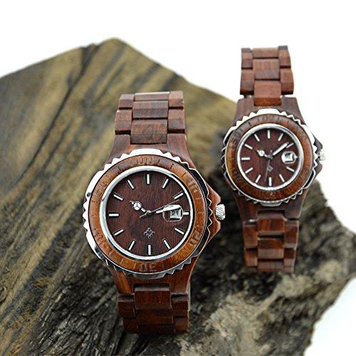 (ビュティー)Biutee 木製腕時計赤檀木腕時計ウッドウォッチ 彫刻クロック 金属と赤檀丸型ダイヤル 天然木製腕時計高品質のウッド時計手作りレディース 母の日 誕生日 木婚式 プレゼント時計(赤檀)