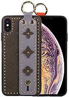 ARASO iPhone Xs用 ハンドストラップケース ハンドストラップ 携帯電話ホルダー [自撮りケース] ヒョウ柄レザーケース [キックスタンド] iPhone X用 for iPhone XS Max