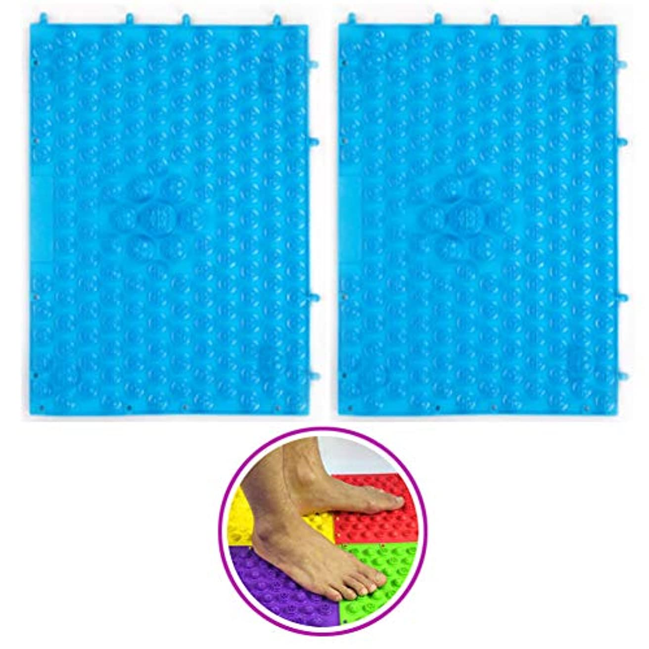 (POMAIKAI) 足つぼマット マッサージシート 健康 ダイエット 足裏マッサージ 2枚セット (ブルー)