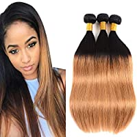 BK Beckoning Ombre Blonde Bundles Straight 1b/27 Brazilian Human Hair 12 14 16 inch 9a Grade Soft Ombre Virgin Hair Extensions 300g Black Roots To Blonde Weave 2 Tone for Women [並行輸入品]