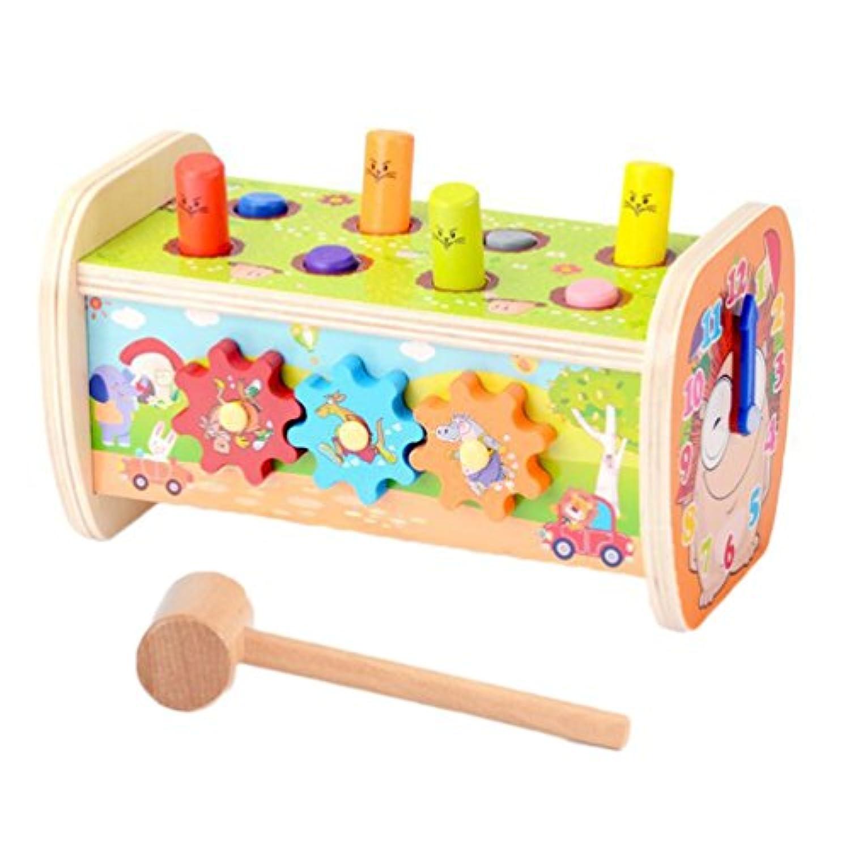 ハンマートイ モグラ叩きゲーム 赤ちゃん ベビー 子供用 叩くおもちゃ 土竜たたき ノックアウト 幼児 木製 槌で打つ 知育玩具 ネズミ 楽しく プレゼント お誕生日ギフト 出産祝い 1歳/2歳/3歳