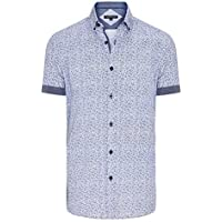 Tarocash Men's Twinkle Print Shirt Cotton Regular Fit Short Sleeve Sizes XS-5XL for Going Out Smart Occasionwear White