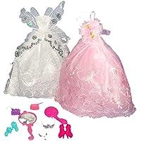 【ノーブランド品】バービー 人形 きせかえ人形 ドレス 服 かわいい お姫様 結婚式 飾り物 装飾 アクセサリー
