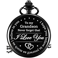 Hicarer Memory Gift to My Grandson Pocket Watch, I Love You to Grandson Gift from Grandpa Grandma