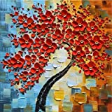 Yongto Framed Red Flowers Oil Painting Hand Painted Canvas Wall Art Abstract Floral Texture Picture Canvas Artwork Painting P