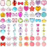 HaiMay 52 Pieces Little Girl Shiny Clip-on Earrings and Adjustable Jewelry Rings Set,Children Kids Girl Pretend Play Earrings and Dress up Rings,All Packed in Clear Box