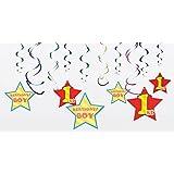 スパイラルデコレーション BOY 1st 1歳 ファーストバースデー 男の子 誕生日飾り
