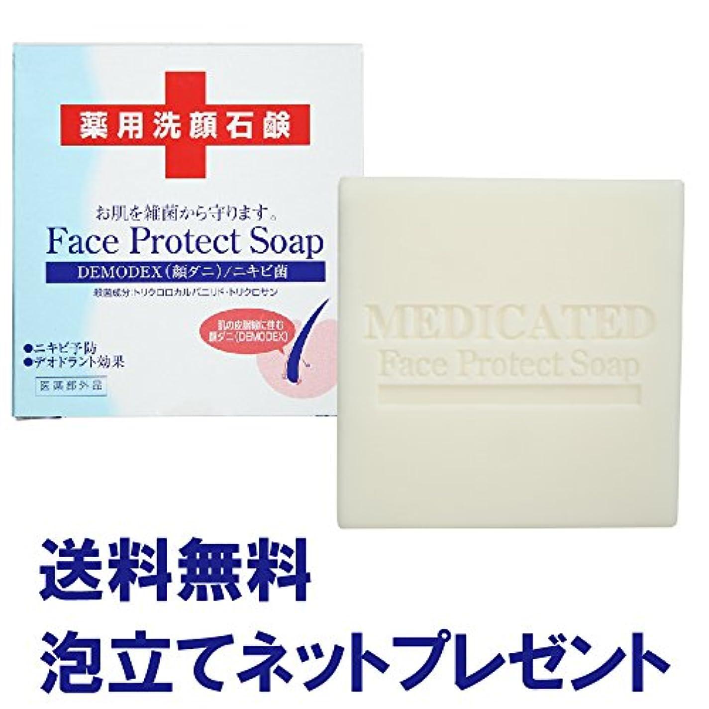 顔ダニ?ニキビ対策 薬用洗顔石鹸 ダイム 薬用フェイスプロテクトソープ 115g 泡立てネットプレゼント