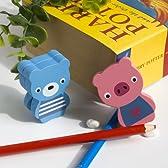 [熊&豚]- カードホルダー / 木製クリップ / 木製留め金 / 動物クリップ