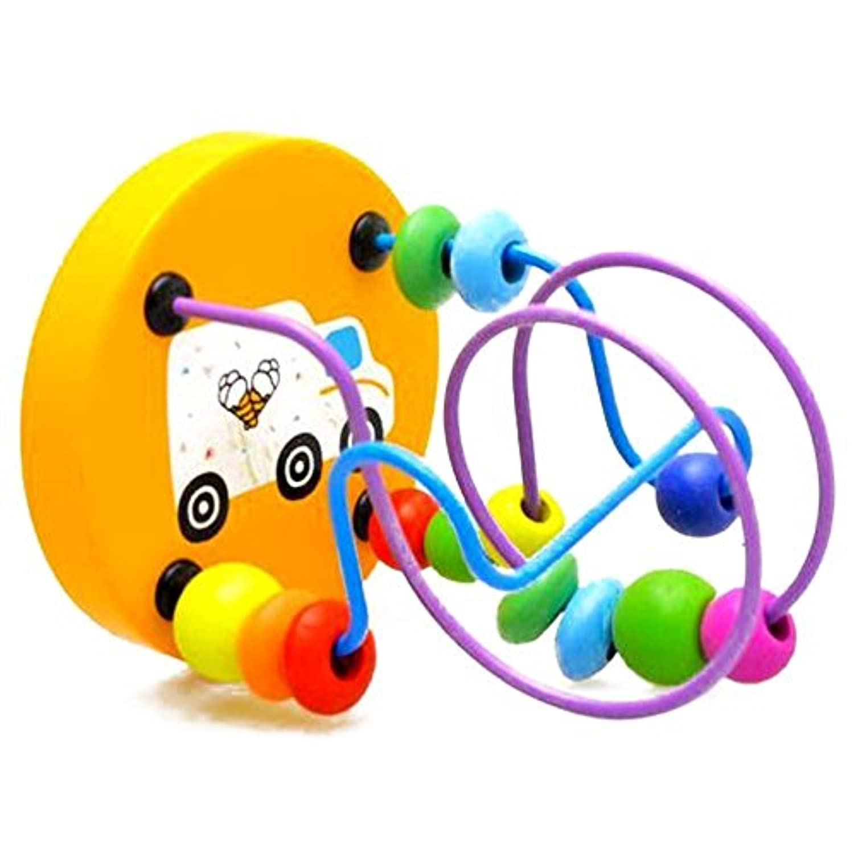 Bargain家ビーズおもちゃEudcationおもちゃカラフルビーズおもちゃ木製ビーズおもちゃビーズGame Toy for Kidsランダム色