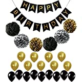 (Black Banner and Pompoms) - BLACK and GOLD PARTY DECORATIONS - Perfect Adult Birthday Decorations Happy Birthday Banner Black,Gold Balloons and Paper Pom Poms Party Supplies for 30th, 40th, 50th, 60th Birthday Decoration