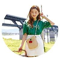 編まれた桜模様の傾斜わらバッグパーソナライズされた髪玉ショルダーバッグ,黑毛球