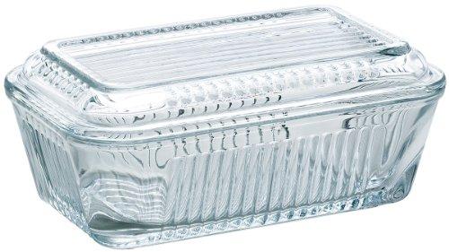 アデリア バターケース ガラス 蓋つき クリア 最大17×10.2×高7.1cm H-3584