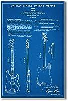 Fender Bass Musical Instrument Patent–新しい有名な発明青写真ポスター