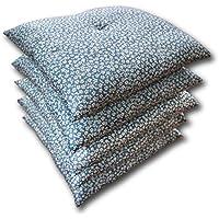 小桜柄が華やかなふっくらふくれ座布団 5枚組 55cm×59cm 日本製 青