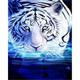 Diamond Painting by Number Kits DIY Crystal Rhinestone Cross Stitch Embroidery Arts Craft Picture Supplies for Home Wall Decor - White Tiger 12x16 inches