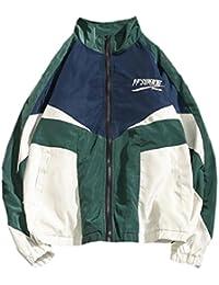 maweisong 男性のファッションのcolorblockジップラグランスリーブジャケット