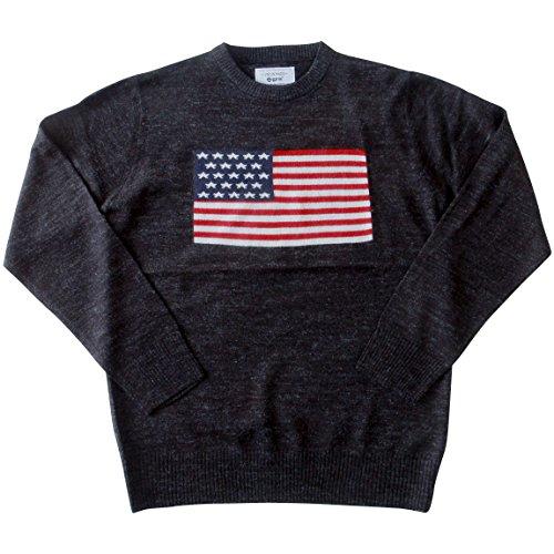 (ジーアールエヌ)grn/星条旗ジャガード/ウール混クルーニット/セーター 3(L) ブラック