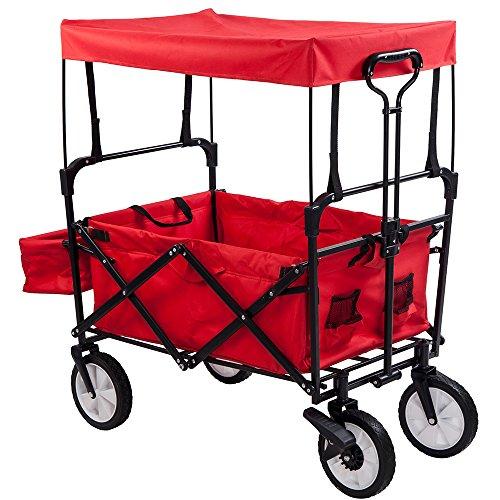 (OSJ)キャリーカート容量 約90L 積載重量 約100kg (レッド(幌付き)) フォールディングキャリーワゴン アウトドアワゴン 大型ノーパンクラバータイヤ