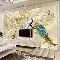 Xbwy カスタム壁画壁紙3Dステレオマグノリア花孔雀壁絵画リビングルームテレビソファ背景壁紙用壁3 D-250X175Cm