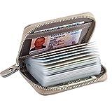 Alimei カードケース クレジットカードホルダー 革 ジッパー付き財布 メンズ レディース カード収納ホルダー 20枚収納 (グレー)