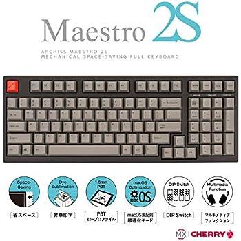 アーキサイト ARCHISS Maestro2S ゲーミング メカニカル スペースセービングフルキーボード 英語 (US ANSI)配列 黒ボディ・グレーキーキャップモデル 茶軸 AS-KBM98/TGB