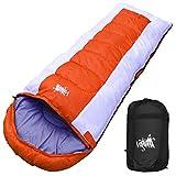 丸洗いOK White Seek 寝袋 シュラフ 封筒型 耐寒温度 -15℃ コンパクト収納 オールシーズン (オレンジ)