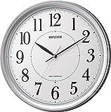 リズム時計 電波 掛け時計 アナログ フィットウェーブプリミエ 連続秒針 銀色 メタリック RHYTHM 8MY494SR19