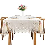 TaiXiuHome European Style Lace Emboridery Round/Square/Rectangle Table Cover Cloth Tablecloth Cross - Stitch Dinning/Wedding/Coffee Shop 150x220cm (59x86inch)