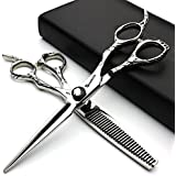 SHARONDS 6 inches japan profession hair scissors shears Silver hairdressing scissors barber thinning scissors hairdresser (Set)