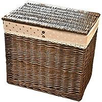 収納 かご バスケットックス 灰色の黒色の階層的なデザインとバスケットの服の収納バスケットの保管柳バスケットの家(55 * 36 * 50cm) Rollsnownow
