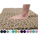 Yimobra Luxury Chenille Bath Mat, Soft Shaggy and Comfortable, Large Size, Super Absorbent and Thick, Non-Slip, Machine Washable, Perfect for Bathroom (80 x 50 cm, Camel)