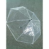 幅広い 風に強い 明るい 折り畳み 透明傘 傘 カサ (白)