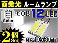 ★A.P.O(エーピーオー) COB 12発LED 2個■汎用 面発光ルームランプ10mmx30mm取付属ソケットキット付属/白/室内灯SMD