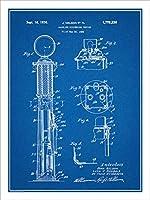 "1925Jネルソンガスポンプ特許印刷アートポスター額なし青写真18"" x 24"""