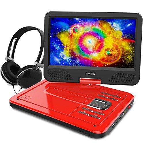 WONNIE ポータブルDVDプレーヤー 10.5インチ 270°回転可能 リージョンフリー SD/MS/MMCカード/USBに対応可能 シガーソケットからの電源供給が可能 (レッド)