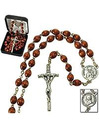 ヨハネ?パウロII、十字架とブラウンビーズメタル19.5-inchカトリックペンダントロザリオ