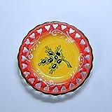 ポルトガル製 アルコバッサ 飾り皿 手描き ブラック オリーブ 柄 オレンジ 絵皿 12cm pfa-478-ov