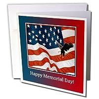 3droseグリーティングカード、Eagle Landing On Us Flag、記念日、6x 6インチ、12パック( GC _ 212757_ 2)