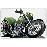 Bathroom Bath Rug Kitchen Floor Mat Carpet,Motorcycle,Motorcycle Design with Fancy Supreme Gears and Metal Tires Action Urban Life,Green Silver,Flannel Microfiber Non-slip Soft Absorbent