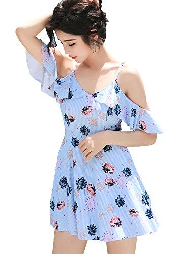 [해외]수영복 여성 원피스 꽃 무늬 오후 쇼루 체형 커버 엄마 수영복 성인 귀여운 하늘색 sw71376-blueXL/Swimwear Women`s Dress Flower Pattern Offshore Body Cover Mama Swimwear Adults Cute Light Blue sw71376-blue XL