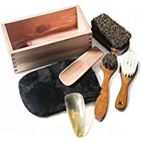 靴磨きセット シューケアセット 靴ケア用品 シューケアキット RooLee 7点セット 馬毛ブラシ×2、ウールブラシ×1、木製靴べら×1、牛角靴べら×1、ムートングローブクロス×1、収納木箱×1