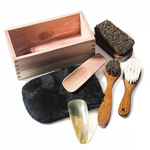 靴磨きセット シューケアセット 靴ケア用品 シューケアキット RooLee 【12ヶ月保証】7点セット 馬毛ブラシ×2、ウールブラシ×1、木製靴べら×1、牛角靴べら×1、ムートングローブクロス×1、収納木箱×1