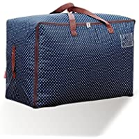 HUZVLS ふとん収納ケース 収納袋 衣類袋 整理 片づけ 引越し 衣替え 丈夫な 羽毛布団 収納ケース 大容量 (60*40*30CM, ネイビー)