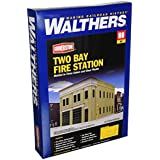 Walthers - Two-Bay Fire Station - Kit (Plastic) -- 8 x 4-7/8 x 5-1/2