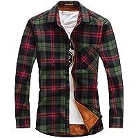 chouyatou Men's Casual Long Sleeve Fleece Lined Plaid Flannel Overshirts Jacket
