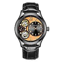 9ff7a94da0 Guanqin 腕時計 アナログ 自動巻き 機械式 ウォッチ メンズ 人気 ブランド レザー オス 時計 カレンダー 発光