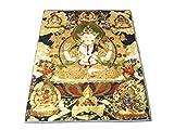 チベット 仏教 金糸 刺繍 織物 タンカ (四臂観音)
