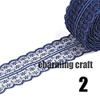 Lowis Lily Lace - 40mm Width Inelastic Embroidered Lace Fabric Trim Ribbon Tape Garment Accessory Wedding Decoration 10yard Lot Diy Cp0335 - Twine Entwine Medal Intertwine Palm Interlace - 1PCs
